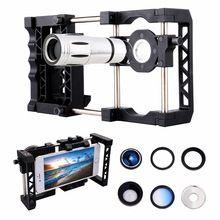 Mount teléfono holder grip estabilizador sistema jaula + telescopio + macro lente ojo de pez de gran angular + filtro para iphone 7 6 s 6 samsung(China (Mainland))