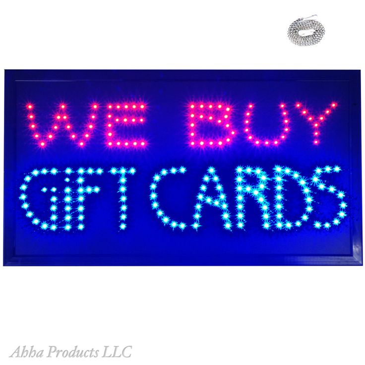 Large 24x13 Bright We Buy Gift Cards LED Open Pawn Shop Discount Store Sign neon…