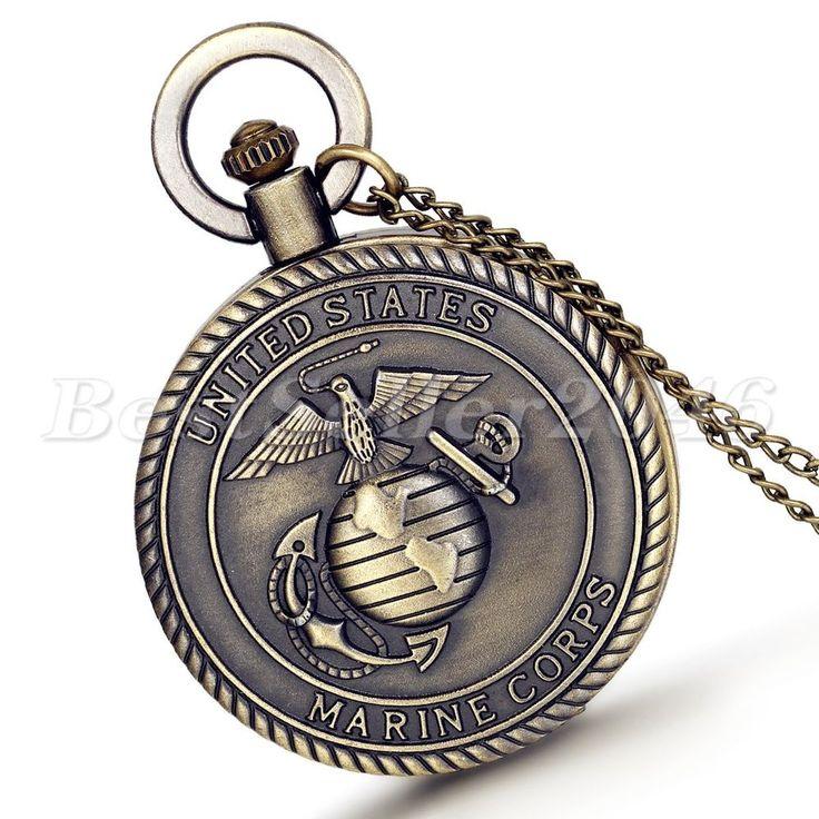 Retro Bronze United States Marine Corps Quartz Pocket Watch Mens Necklace Chain #UnbrandedGeneric