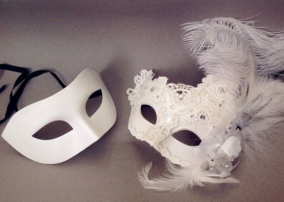 Strauß Feder White Lace Maskerade Maske paar Prom von Crafty4Party