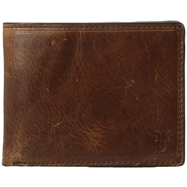Frye Logan Slim ID Billfold (Cognac Antique Pull-Up) Bill-fold Wallet ($128) ❤ liked on Polyvore featuring men's fashion, men's bags, men's wallets, antique mens wallets, mens slim leather wallet, mens billfold wallets, mens slim wallets and mens leather credit card holder wallet