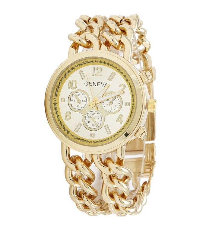 GENEVA Women Dress gold Watch Casual Fashion Style Classic Watches High  Quality Watch Double Cowboy Chain