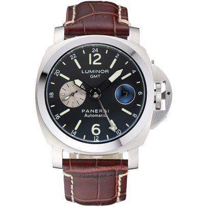 Panerai Luminor GMT Black Dial Brown Leather Bracelet