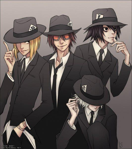 Matt, Lawliet, Near, Mello. Death Note. Yup it's all about a bunch of classy psychos.