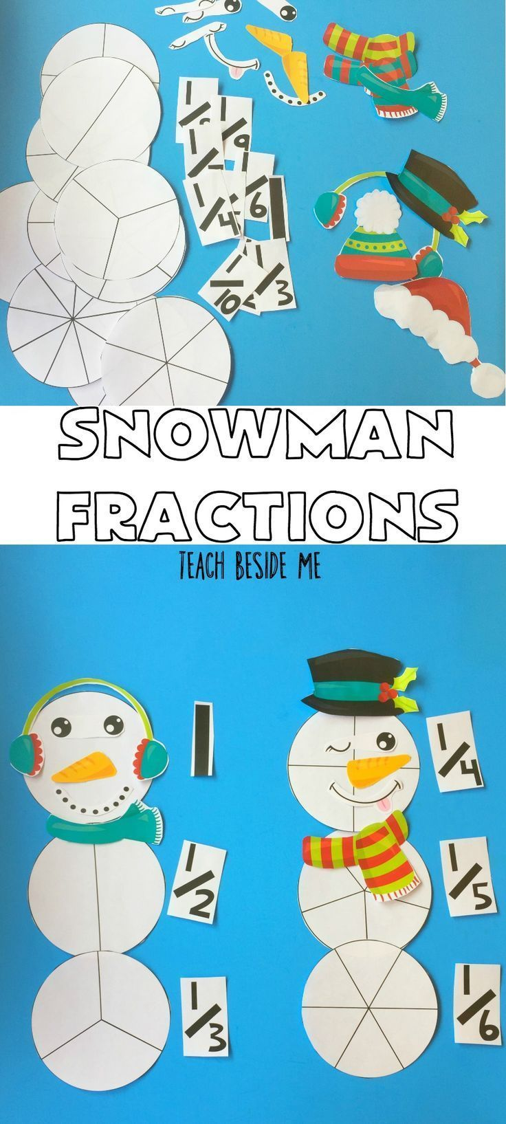Do some winter math and play with these darling snowman fractions! Great for the holidays! via /karyntripp/