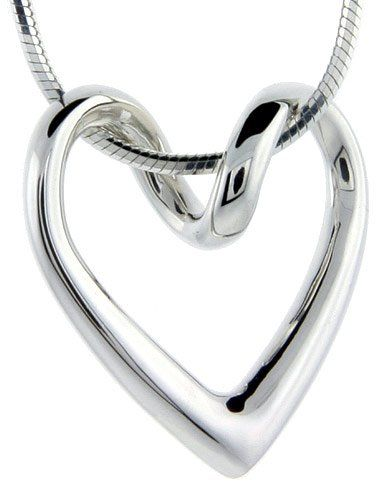#saucy Sterling Silver Floating Heart Necklace Flawless Quality, 3/4 x 3/4 inch wide