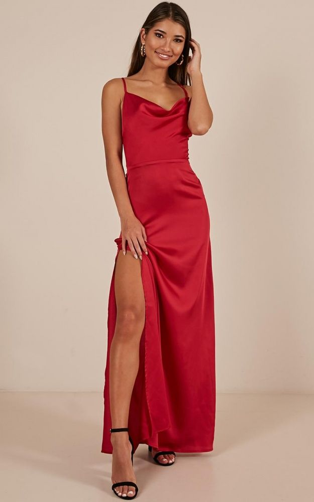 ba2b8c47eba Style And Substance Maxi Dress In Red Satin Produced in 2019