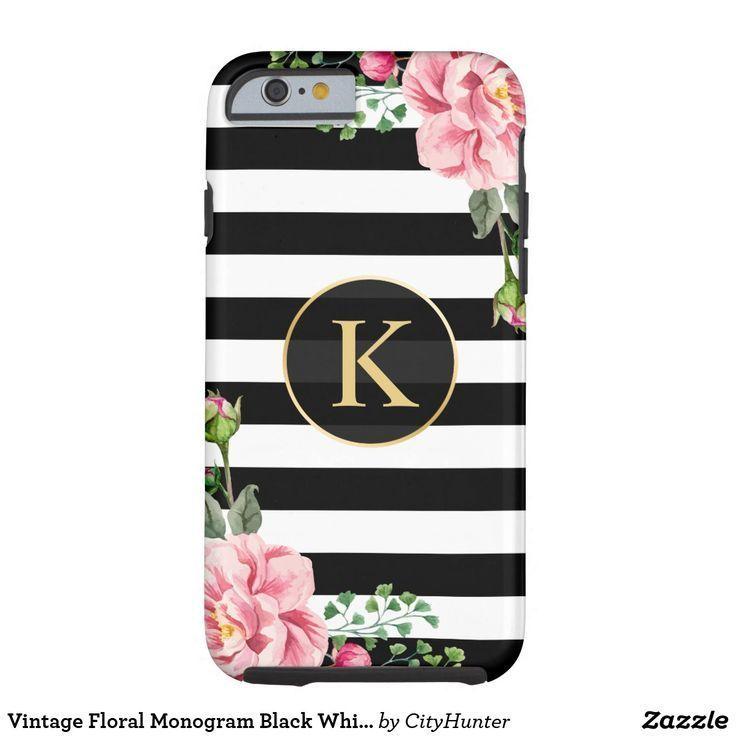 Vintage Floral Monogram Black White Striped Tough iPhone 6 Case (scheduled via http://www.tailwindapp.com?utm_source=pinterest&utm_medium=twpin)