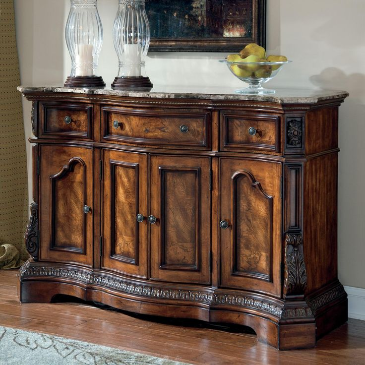 Ashley Millennium Ledelle Traditional Dining Room Server with Marble Top  Living Room in 2019