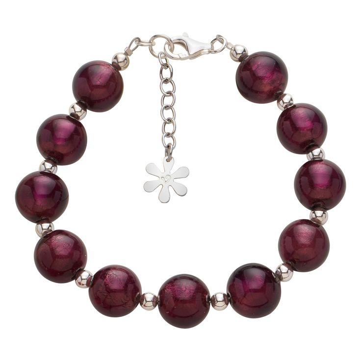 Valentina Murano Glass Ball #Bracelet Dark Amethyst #jewellery #murano