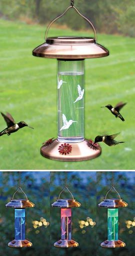 Hummingbird show by day, multi-colored light show by night. This solar lighted hummingbird feeder does both!