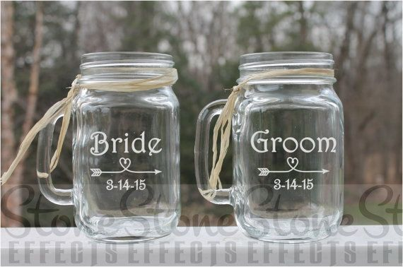 Bride and Groom wedding mason jars Personalized by StoneEffectsMD