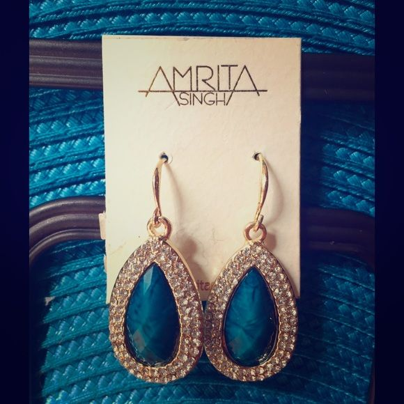 """SALEAMRITA SINGH teal blue & crystal earrings AMRITA SINGH gold-tone with teal blue faceted center stone surrounded by two rows of crystals.  Never worn.  NWOT.  Length from top of french wire is 1 3/4"""".  Thank you for looking!  Bundle 2+ listings for 20% discount.  (11.08.15.30) Amrita Singh Jewelry Earrings"""