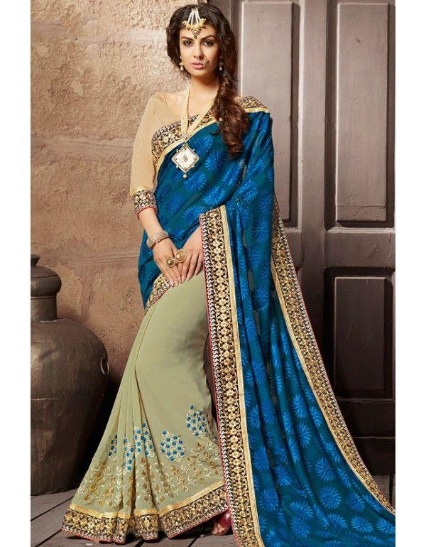 Superb Beige and Blue #Saree