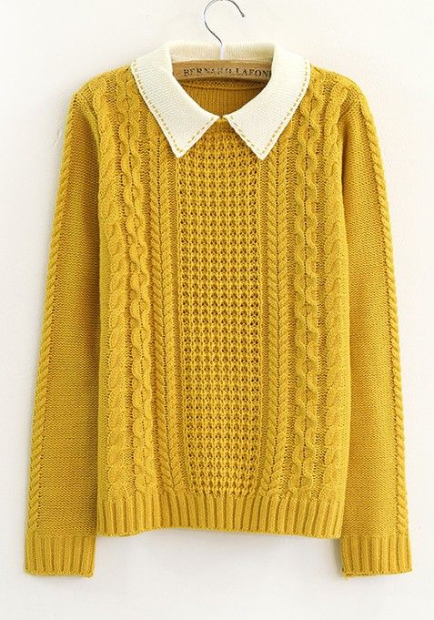 ++ yellow turndown collar long sleeve cotton blend cardigans