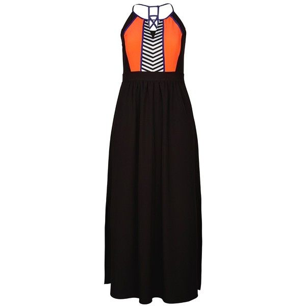 City Chic Fun Aztec Maxi Dress (155 CAD) ❤ liked on Polyvore featuring plus size women's fashion, plus size clothing, plus size dresses, dresses, halter strap dress, day to night dresses, halter tops, halter dress and aztec print maxi dress