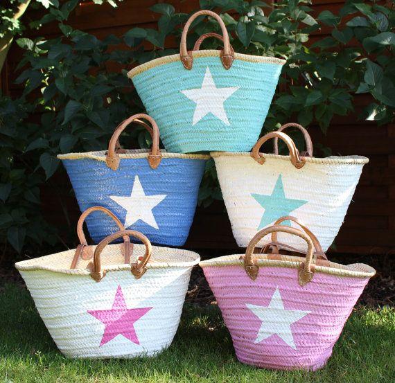 Ibiza Beach Bag French market Basket Natural Big by DeliaSummer