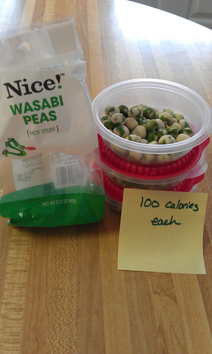 Wasabi Peas are a weakness for me. Portioning them out for 100 calorie packs is a must if I want this spicy treat.