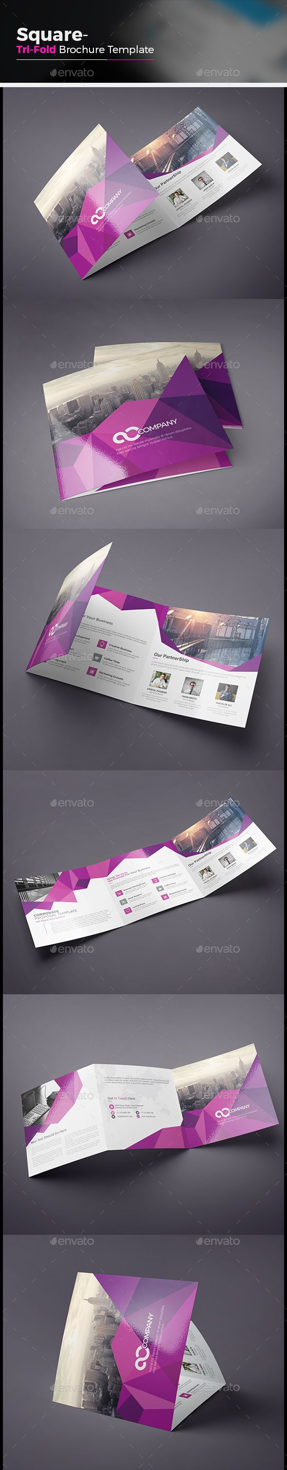 Abstract Square Tri fold Brochure — Vector EPS #tri fold abstract brochure #elegant • Available here → https://graphicriver.net/item/abstract-square-tri-fold-brochure/14620504?ref=pxcr