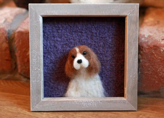 This loving soul is ready to be adopted! A needle felted 3D portrait who sits in a 7 natural wooden frame (there is no glass, enabling the face to truly step into your world). Made from ethically sourced British wool (most of which comes from Newmoor Barn in Cornwall), each