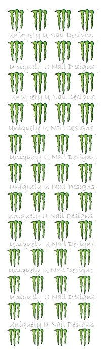 Monster Energy Drink Nail Decals by XtremeBlingBowtique on Etsy