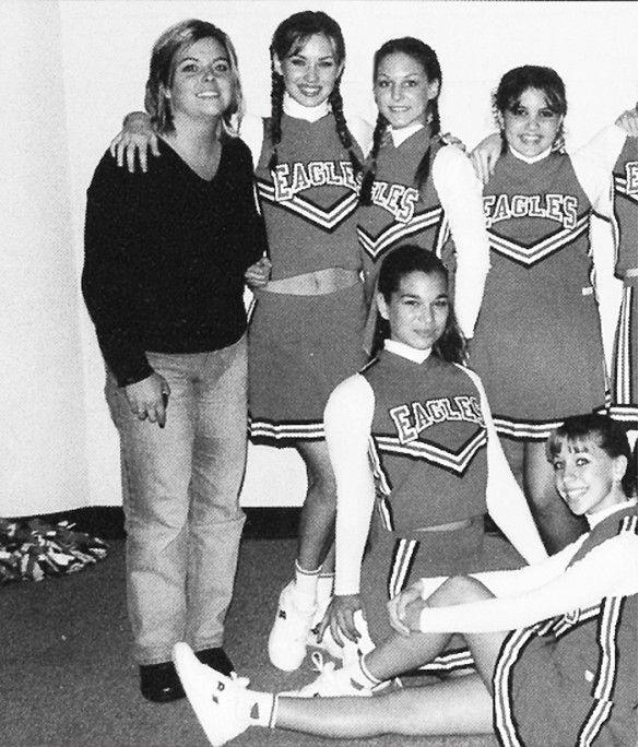 Megan Fox pictured in her high school cheerleading uniform.