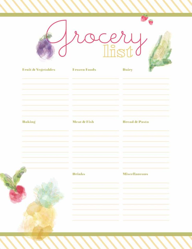 grocery list printable from designs by miss mandee