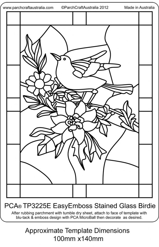 PCA EASY EMBOSSING TEMPLATE - STAINED GLASS BIRDIE    This template depicts a classic little birdie perched on a branch and floral elements in a RECTANGULAR frame. The Stained Glass style templates are ideal for projects such as birthdays, thank you, invitation, get well, sympathy etc or just as a little project to pop into a small frame and grace your dresser.