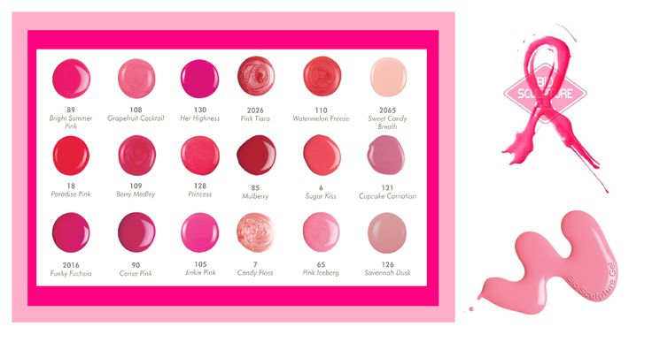 Beautiful pink Bio Sculpture Gel colors to choose from for your Cancer Awareness manicure and pedicure!