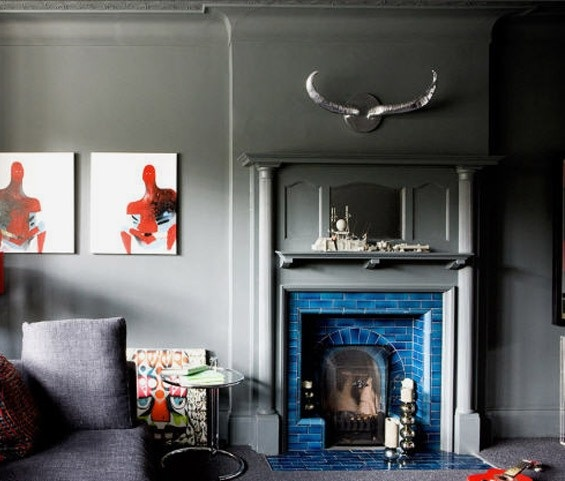 Grey Walls Against Blue Tiled Fireplace