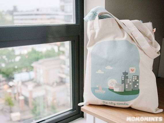 **Back Side**  Momomints City and Nature Canvas Tote Bag by momomints on Etsy