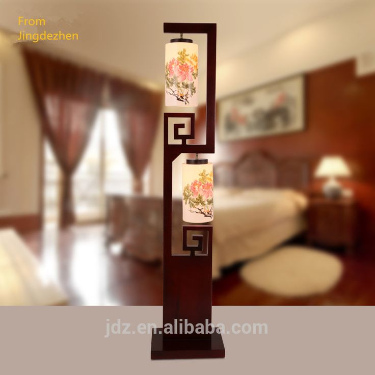 Jingdezhen Ceramic antique wood floor standing lamp