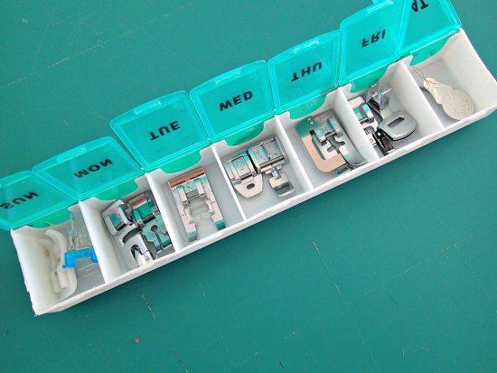 Store sewing machine presser feet in a pill box.