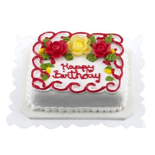 Rote und gelbe Rose Birthday Sheet Cake   – Miniatures