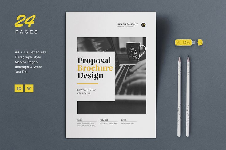 24 pages, Minimal Proposal  Brochure In Word and Indesign format