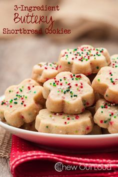 3-Ingredient Buttery Shortbread Cookies. Perfect last minute Christmas cookies. They are melt-in-your-mouth amazing.  Full recipe