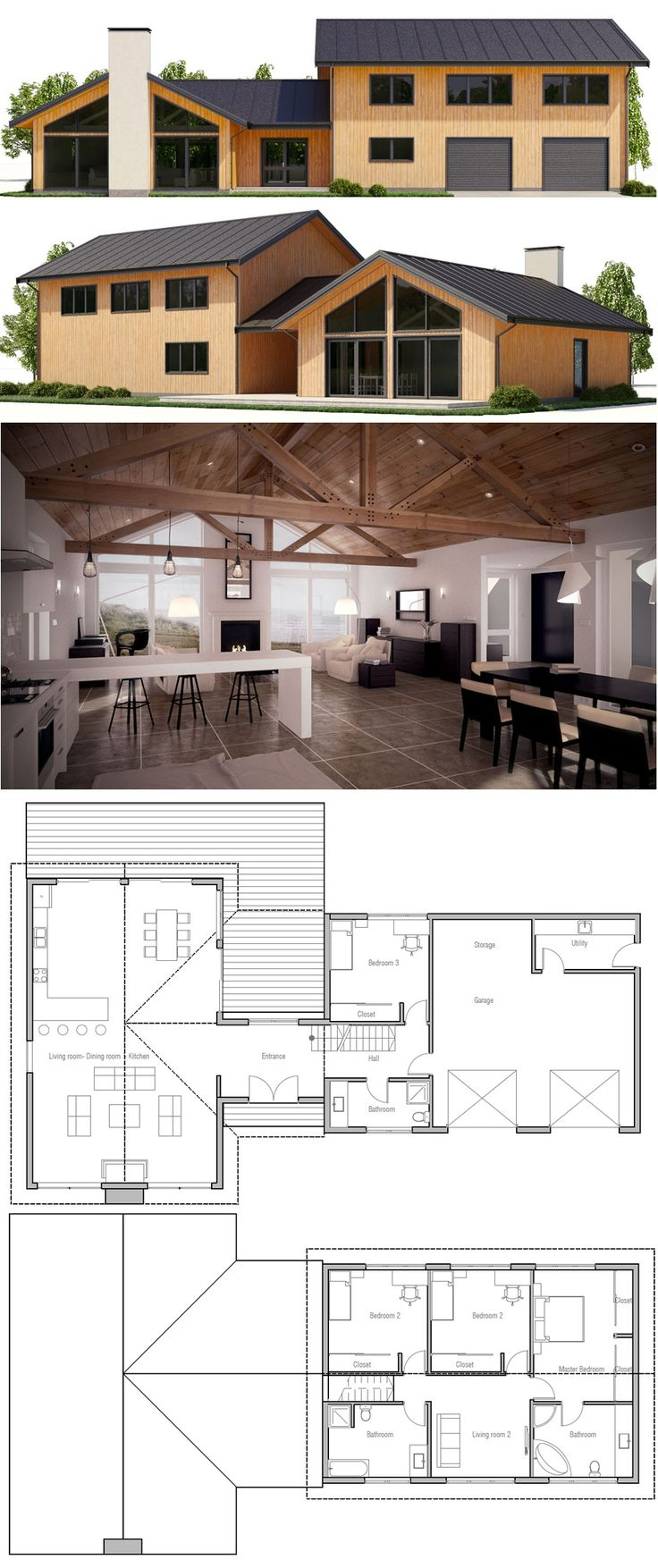 Neat plan! Masterbed room upstairs with 2 more bedrooms. 1 mainfloor. Like the modern look. Mudroom issue.