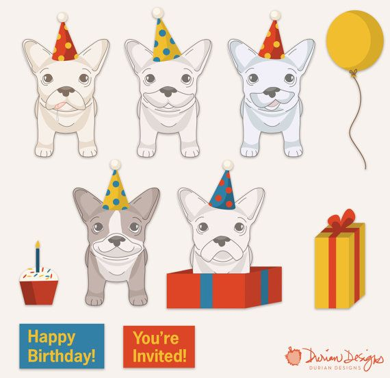 Birthday French Bulldogs clipart commercial use, Frenchie clip art, red blue and yellow presents, cute dogs vector instant download.  With this download, separate/individual image files are in PNG (transparent) format and JPG (white background) format. Each dog is about 7x11 inches and includes a subtle drop shadow. The main previews (with all images compiled) is for demonstration purposes only. Note: You are purchasing digital files only. Nothing will be mailed to you. The downloadable ...