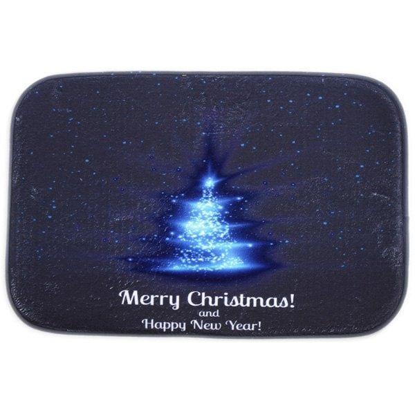 Room Decor Fleece Antislip Merry Christmas Doormat Carpet - BLUE