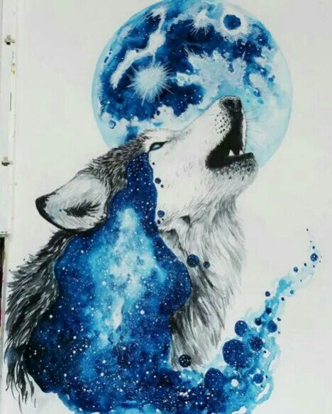 Wolf with blue moon