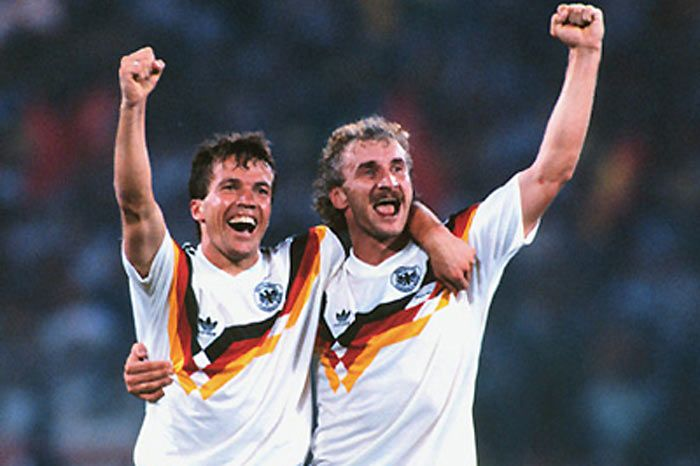 Lothar Matthäus (left, Germany, 1982–1994, 90 caps, 47 goals) and Rudi Völler (right, Germany), 1990 FIFA World Cup Italy.