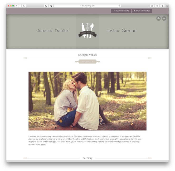 'Kat' wedding website theme at eWedding.com