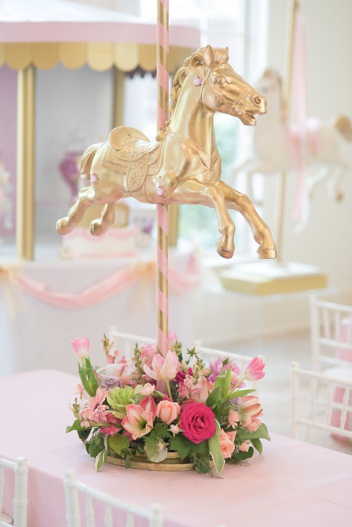 Guest Table Centerpiece from a Pink Carousel Birthday Party via Kara's Party Ideas! KarasPartyIdeas.com (15)