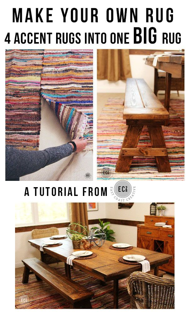 DIY Rug Tutorial. Using 4 rag rugs to make one large dining room rug.  A great dining room Makeover on a budget #DIYrug
