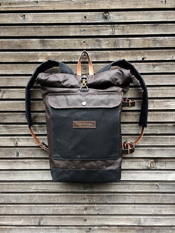 Encerado lona mochila con correas de cuero desmontable