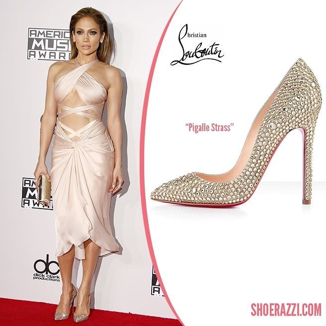 Jennifer Lopez wore Christian Louboutin Pigalle Strass pumps to the 2014 American Music Awards held at the Nokia Theatre L.A.