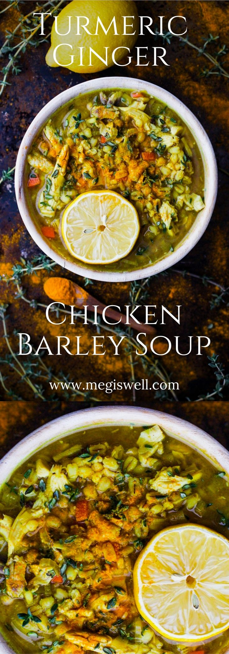 This Turmeric Ginger Chicken Barley Soup is for the sick and weary. Turmeric powder, fresh grated ginger, wholesome chicken broth, chicken, and roasted barley are slow cooked to cold fighting delicious perfection. | www.megiswell.com
