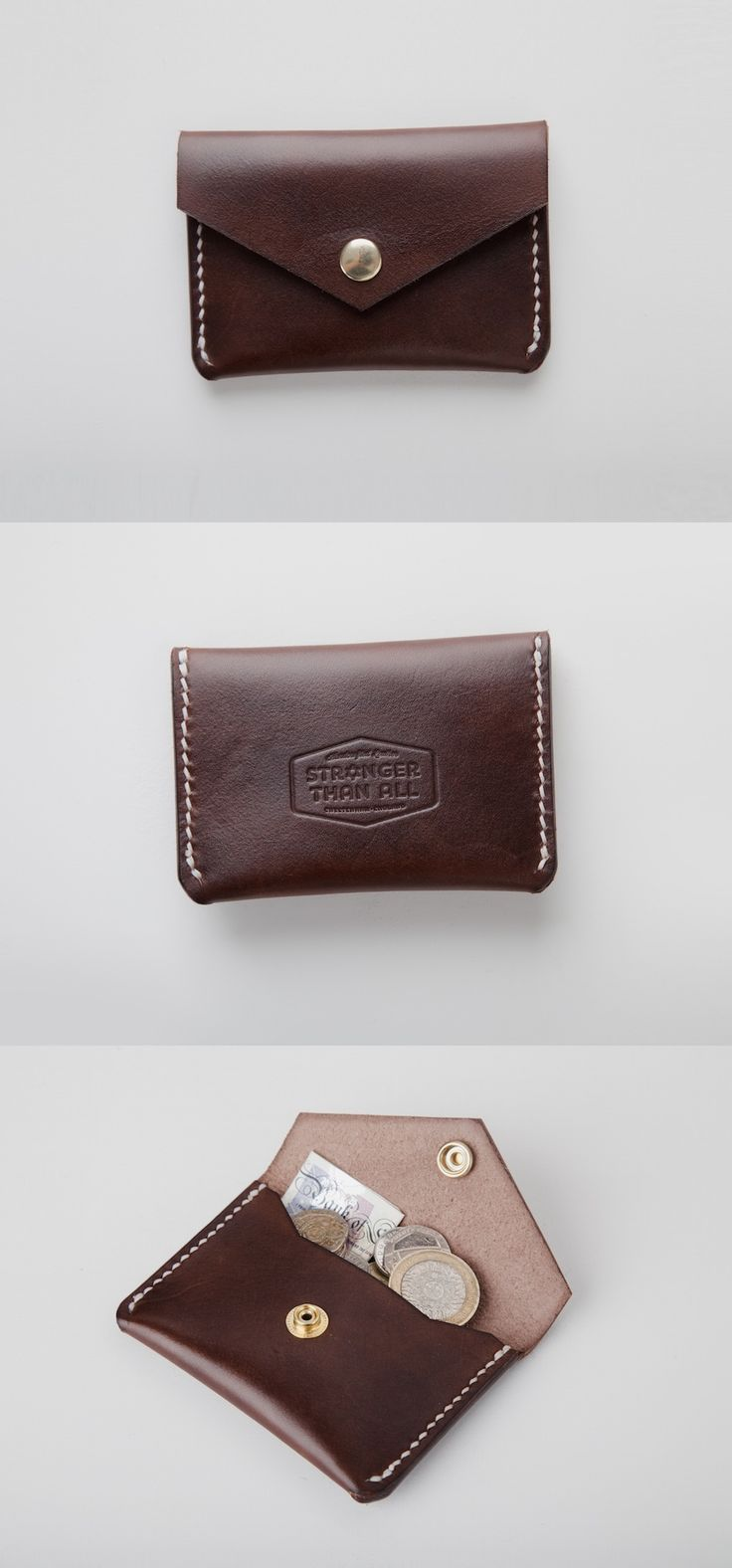 Deep Brown Handmade Leather Snap Wallet by Stronger Than All #everydaycarry#EDC