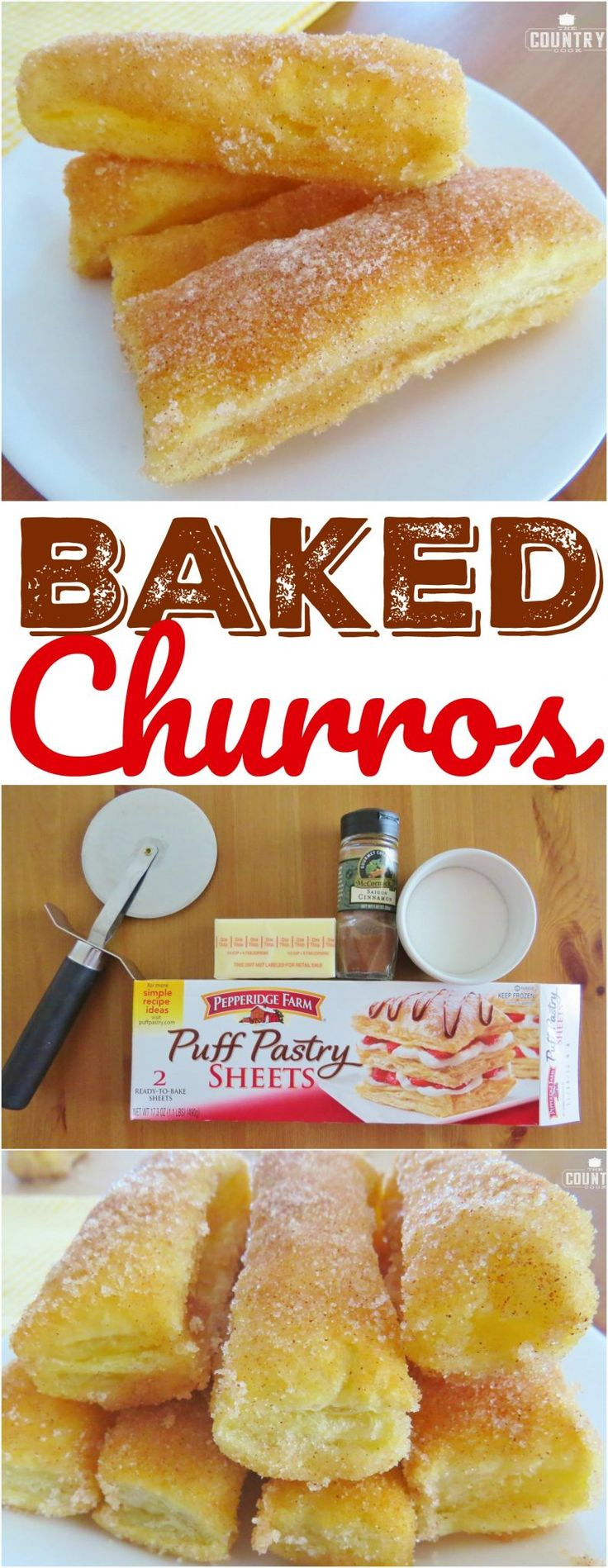 Easy Baked Churros recipe from The Country Cook. No oil. No frying. No messy dough!