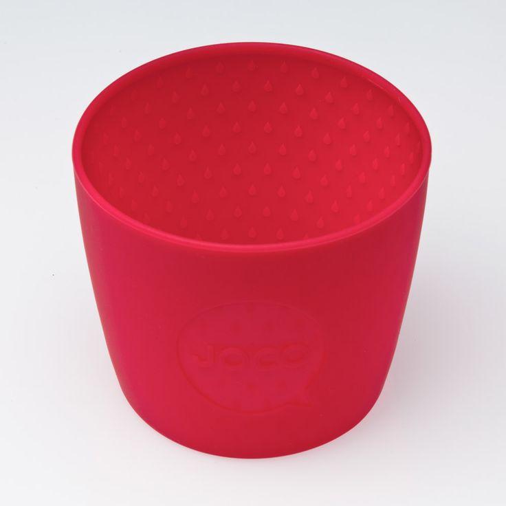 Gobelet réutilisable en verre de couleur rouge. En vente sur L'emballage Vert!